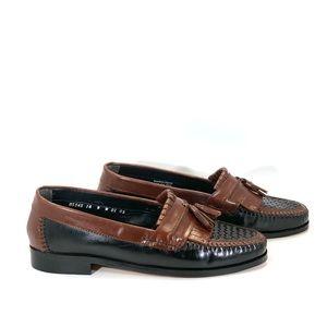 New Nunn Bush TwoTone Woven Leather Tassel Loafers